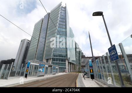 Number Three Snowhill completes the final phase of the development leading down to St Chads Circus. Number Three building as viewed from the new St Chads Metro Station. - Stock Photo