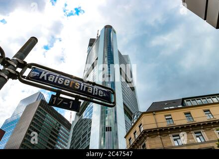 Kaiserstraße street sign and Commerzbank tower by architect Norman Foster, tallest building in the European Union (2020). Frankfurt am Main, Germany.