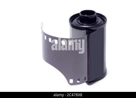 Old camera black and white roll film isolated on white background.Studio shot. - Stock Photo