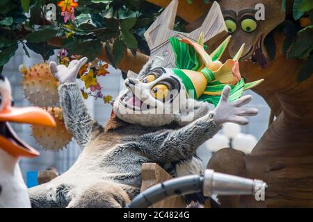 The King Julien from Madagascar say hello to tourist in universal studios parade. A theme park located within Resorts World Sentosa Singapore. - Stock Photo