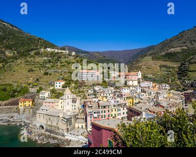 View of Vernazza one of five colorful villages of Cinque Terre - Stock Photo