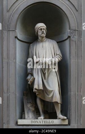 Donatello statue outdoor the Uffizi museum in Florence, Tuscany, Italy, touristic place - Stock Photo