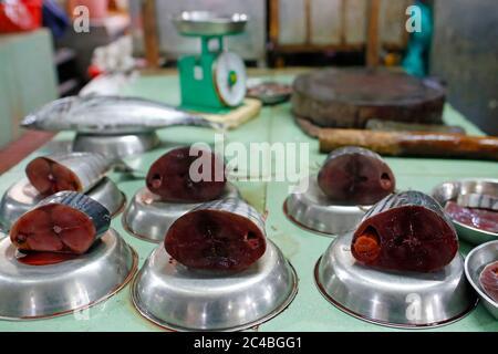 Fresh tuna fish for sale at market - Stock Photo
