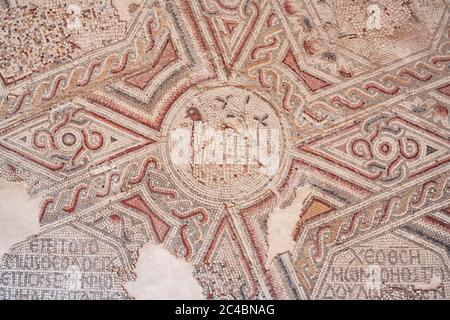 Hippolytus Hall villa mosaic, 6th century, Madaba, Jordan - Stock Photo