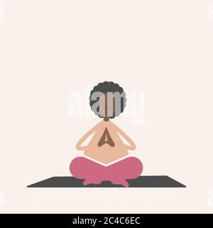 A cute fat black woman practices yoga. In the lotus position on the rug.  - Stock Photo