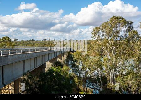 The historic old Blanchetown bridge crossing over the beautiful River Murray at Blanchetown in the riverland South Australia on the 20th June 2020 - Stock Photo