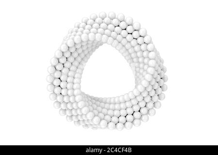 Abstract Impossible White Balls Loop Circle Shape Cross Cap on a white background. 3d Rendering - Stock Photo