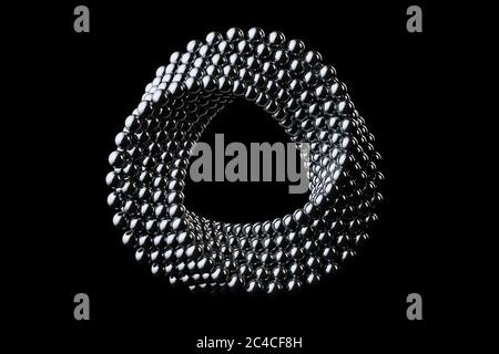 Abstract Impossible Chrome Metal Balls Loop Circle Shape Cross Cap on a black background. 3d Rendering - Stock Photo