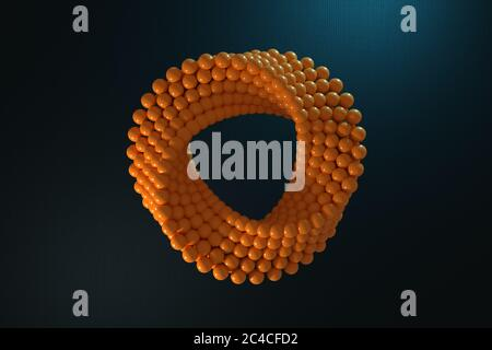 Abstract Impossible Orange Balls Loop Circle Shape Cross Cap on a black background. 3d Rendering - Stock Photo