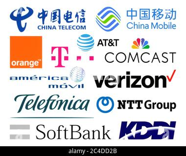 Kiev, Ukraine - February 23, 2020: Logos collection of  the biggest world telecommunication companies, such as: China Telecom, AT&T, Verizon, Telefoni - Stock Photo