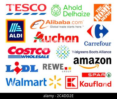 Kiev, Ukraine - February 23, 2020: Logos collection of the biggest world retails, such as: Amazon, Tesco, Alibaba, Lidl, Walmart, Aldi, Auchan, and ot - Stock Photo