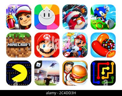 Kiev, Ukraine - February 23, 2020: Icons collection of the popular mobile video games, such as: Subway Surfers, Trivia Crack, Angry Birds, Sonic Dash, - Stock Photo