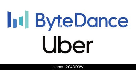 Kiev, Ukraine - February 23, 2020: China's ByteDance leapfrogs Uber to becomes world's most valuable startup. ByteDance is an Internet technology comp - Stock Photo