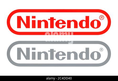 Kiev, Ukraine - February 23, 2020: New and Old Nintendo logos, printed on white paper. Nintendo is a Japanese multinational consumer electronics and v - Stock Photo