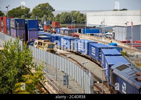 Tesco grocery distribution centre Daventry International Rail Freight Terminal DIRFT 2 rail road intermodal freight terminal warehousing estate Northa - Stock Photo