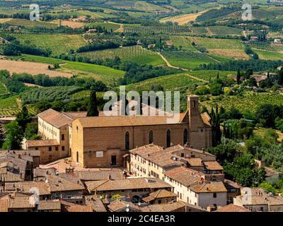 Sant'Agostino Church, Piazza S. Agostino, San Gimignano, Siena, Italy - Stock Photo