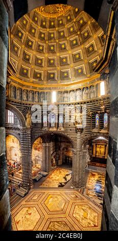 Interior view of dome and floor of Siena Cathedral, Italy - Stock Photo