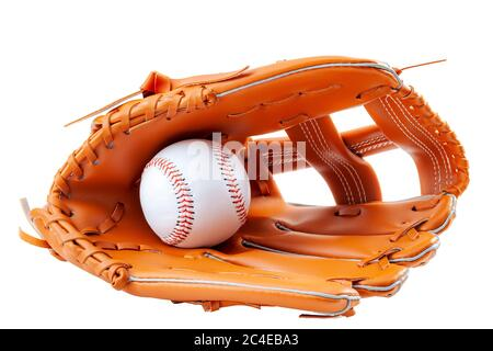 America s pastime, sporting equipment and american sports concept with a new generic baseball glove and holding a ball isolated on white background wi