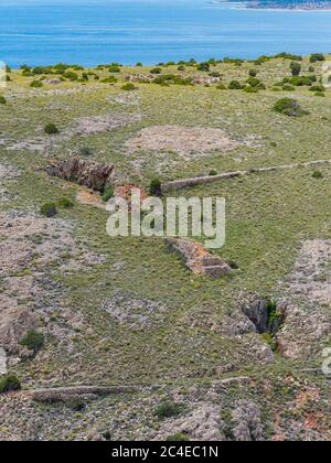 Abandoned bauxite mining facitities near Stara Baska island Krk Croatia Europe - Stock Photo