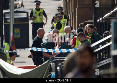 Glasgow, Scotland, UK. 26th June, 2020. Pictured: A major police incident has been declared in Glasgow as 6 people have been stabbed including a police officer and police shooting dead the attacker at a major incident at the Park Inn in West George Street which is hosting asylum seekers. Credit: Colin Fisher/Alamy Live News - Stock Photo