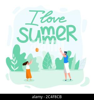 Family Card Written I Love Summer Cartoon Flat. Parents Spend Time with Children. Father Plays Ball with his Daughter on Beach. Summer School Holiday - Stock Photo