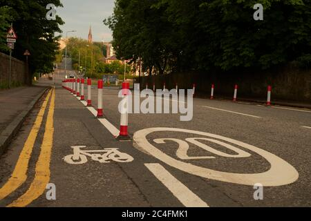 Edinburgh  Scotland, UK June  26 2020; A new physically protected cycle path on Crewe Road South as measures are put in place to encourage active trav