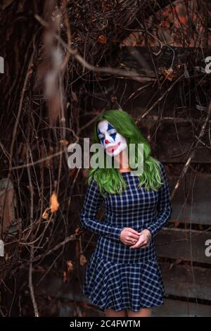 Portrait of a greenhaired girl in chekered dress with joker makeup on a atmospheric wooden background. Stock Photo