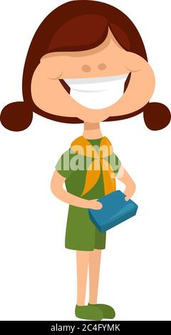 Girl selling cookies, illustration, vector on white background - Stock Photo