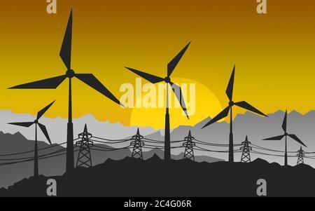 Silhouette of landscape view of wind power turbine, 3D rendering