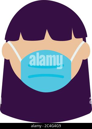 avatar girl wearing medical mask icon over white background, flat style, vector illustration