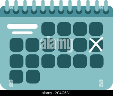 summer travel and vacation calendar reminder in flat style isolated icon vector illustration - Stock Photo
