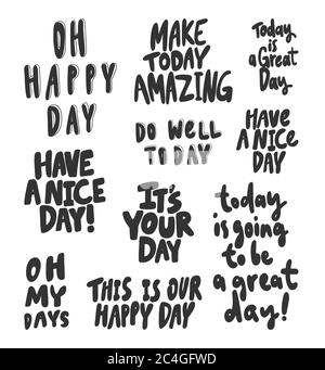 Oh, happy, day, great, nice, well, amazing, today. Vector hand drawn illustration collection set with cartoon lettering.  - Stock Photo