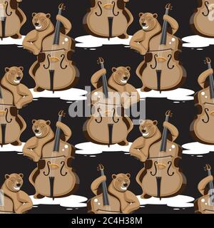 seamless pattern of a bear playing a double bass on a black background. Vector image - Stock Photo