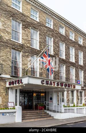 The Georgian-fronted Chatsworth Hotel is a Grade II listed building.  It is the oldest and largest hotel in Worthing, West Sussex, England, UK. - Stock Photo