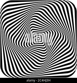 Optical illusion of swirling a picture torsion and rotation movement. Dynamic effect. Vector illustration.