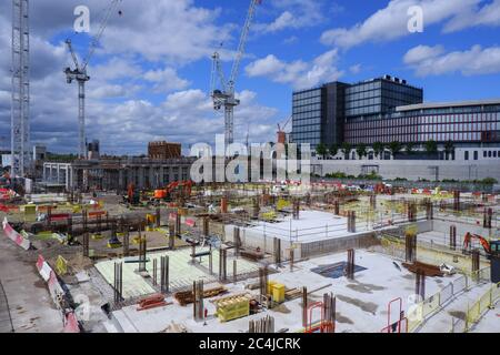 London, England – 2020 : construction site of  East Bank/ Stratford Waterfront, Queen Elizabeth Olympic Park - Stock Photo