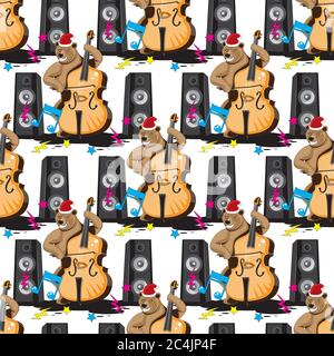 Seamless pattern of a bear playing a double bass in a hood music from speakers on a white isolated background. Vector image - Stock Photo