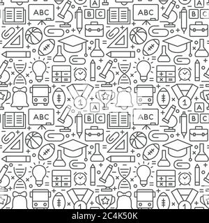 Education and science seamless pattern with icons in thin line style - Stock Photo