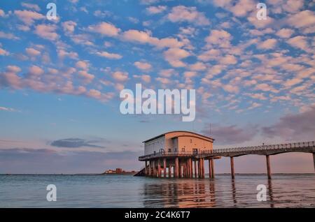 UK, Roa Island, Roa Island lifeboat station, piel, piel island, furness peninsula, cumbrian coast, barrow-in-furness, blue sky, furness coast, uk, UK - Stock Photo