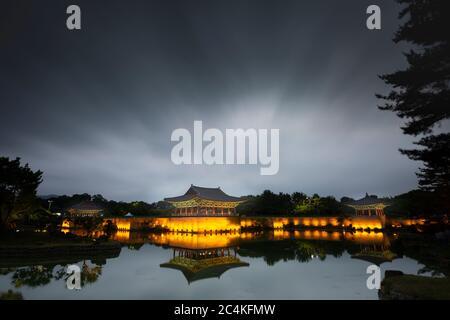 beautiful night view of Donggung and Wolji(Anapji pond) with cloudy sky in Gyeongju, Korea,  19 Jun 2020 - Stock Photo