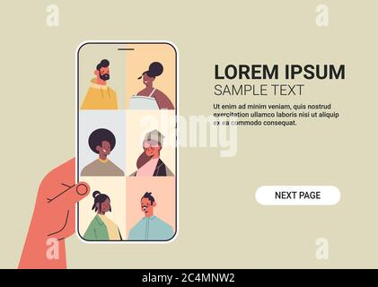 human hand using smartphone chatting with mix race friends during video call people having virtual live conference communication self isolation concept horizontal copy space vector illustration - Stock Photo