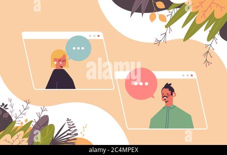 mix race couple chatting during video call man woman having virtual live conference communication self isolation quarantine concept portrait horizontal vector illustration - Stock Photo