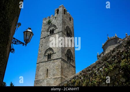 Duomo or Chiesa Mother of Erice, built by Federico III di Sicilia (Sicily/ Italy) - Stock Photo