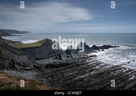 Dramatic, rugged coastline at Hartland Quay, north Devon. Facing south. - Stock Photo