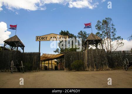Province of Almería, Andalusia, Spain, Europe. Tabernas Desert (Desierto de Tabernas). Mini Hollywood film set, western theme park. The entrance to Fort Apache (reconstruction).