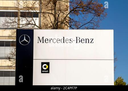 Nurnberg, GERMANY: Mercedes Benz dealership building. Mercedes-Benz is a German automobile manufacturer. The brand is used for luxury automobiles, bus - Stock Photo