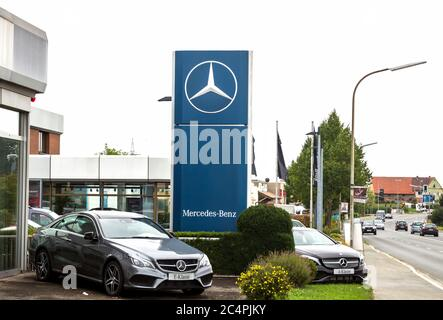 Schwabach, GERMANY August 8, 2017 : Car dealer Mercedes-Benz. Mercedes-Benz is a German automobile manufacturer. - Stock Photo