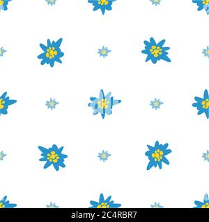 Seamless pattern with blue Edelweiss flowers on white background. Hand drawn Alpine mountain flora. - Stock Photo