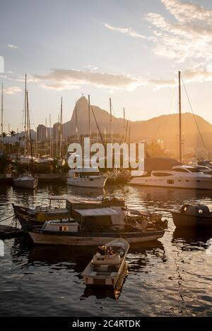 Beautiful view to Corcovado Mountain behind sailboat masts, Rio de Janeiro, Brazil - Stock Photo