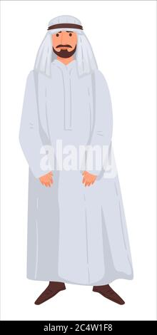 Man wearing traditional islamic clothes for males, islamic personage - Stock Photo